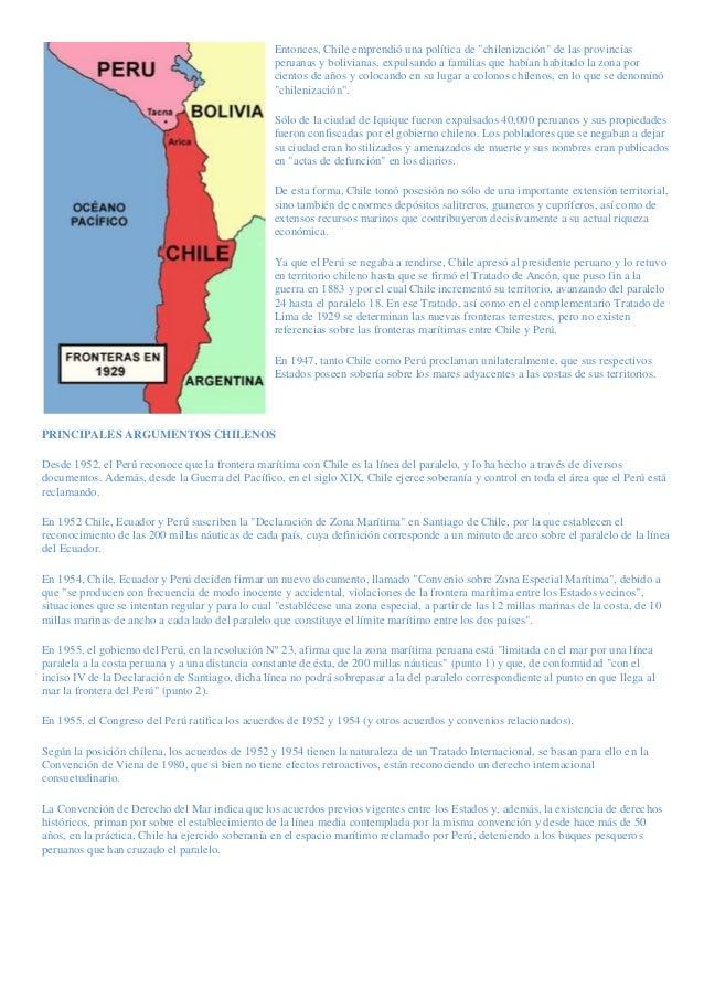 """Entonces, Chile emprendió una política de """"chilenización"""" de las provinciasperuanas y bolivianas, expulsando a familias qu..."""