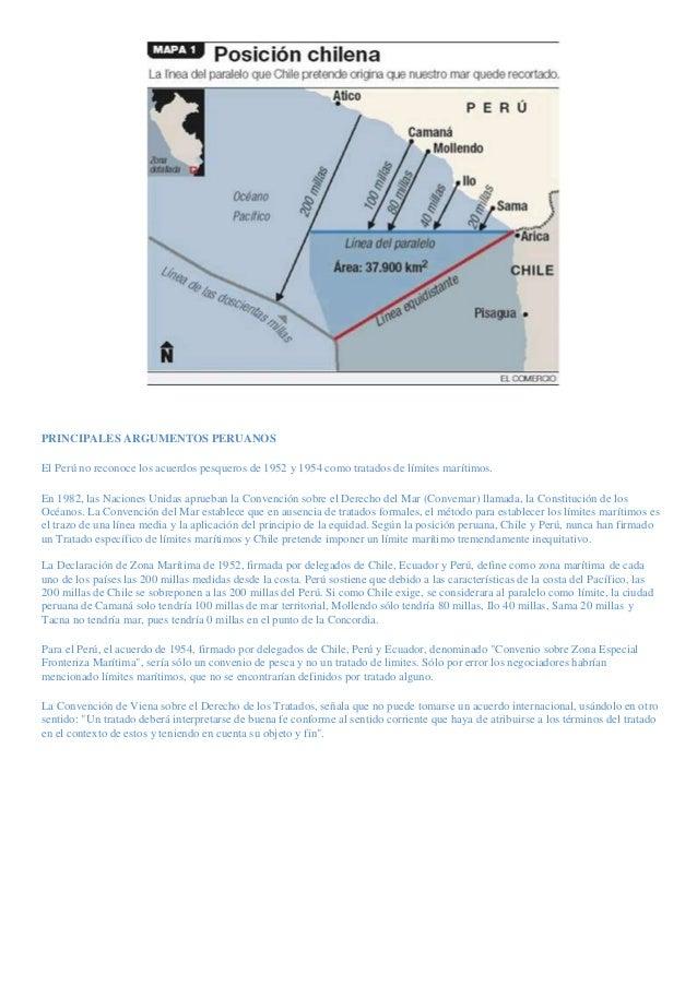 PRINCIPALES ARGUMENTOS PERUANOSEl Perú no reconoce los acuerdos pesqueros de 1952 y 1954 como tratados de límites marítimo...