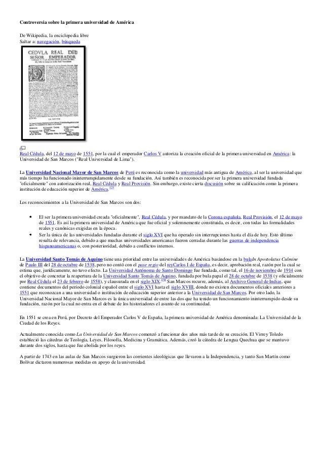 Controversia sobre la primera universidad de América De Wikipedia, la enciclopedia libre Saltar a: navegación, búsqueda Re...