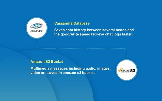 Saves chat history between several nodes and the good/write speed retrieve chat logs faster. Cassandra Database Multimedia...