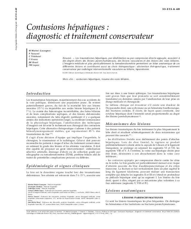 Contusions hépatiques :  diagnostic et traitement conservateur  M Mattei-Gazagnes  P Taourel  C Thiebaut  F Vivens  JM Bru...
