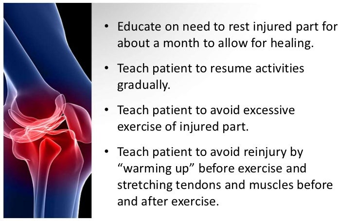 • Educate on need to rest injured part for  about a month to allow for healing.• Teach patient to resume activities  gradu...