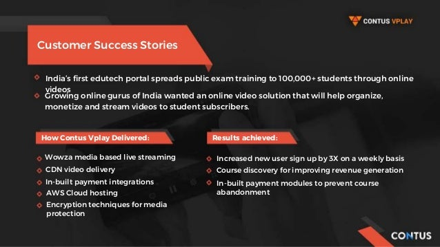 Customer Success Stories India's first edutech portal spreads public exam training to 100,000+ students through online vid...