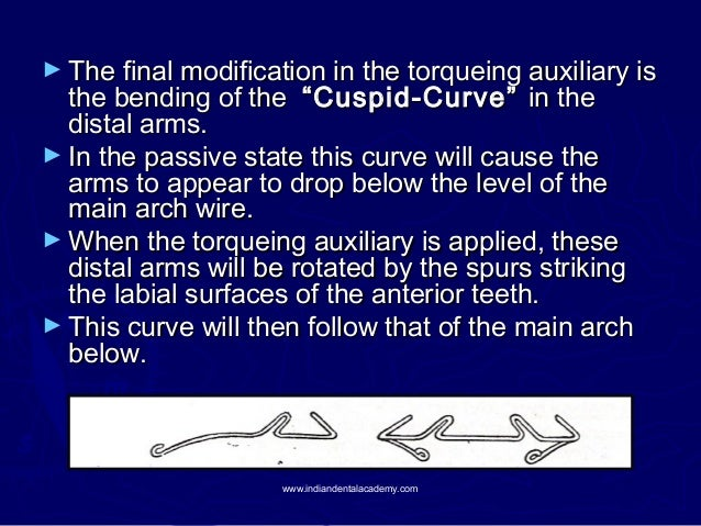 """► The final modification in the torqueing auxiliary is  the bending of the """"Cuspid-Curve"""" in the distal arms. ► In the pas..."""