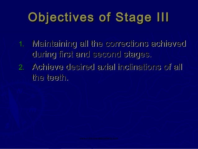 Objectives of Stage III Maintaining all the corrections achieved during first and second stages. 2. Achieve desired axial ...