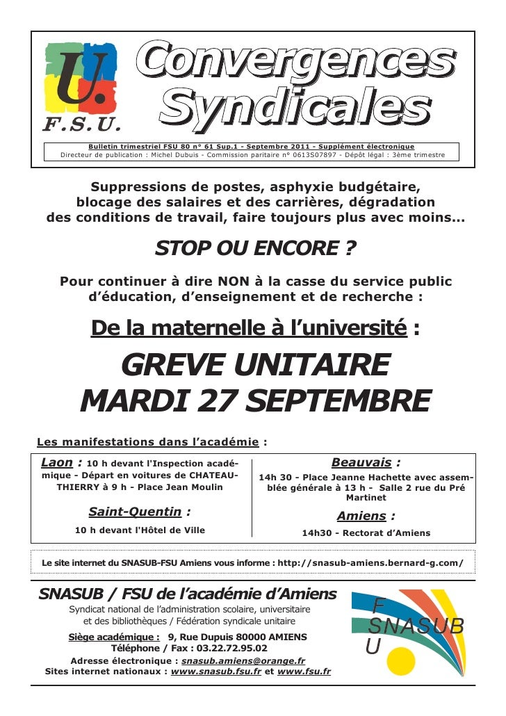 Convergences                         Syndicales            Bulletin trimestriel FSU 80 n° 61 Sup.1 - Septembre 2011 - Supp...