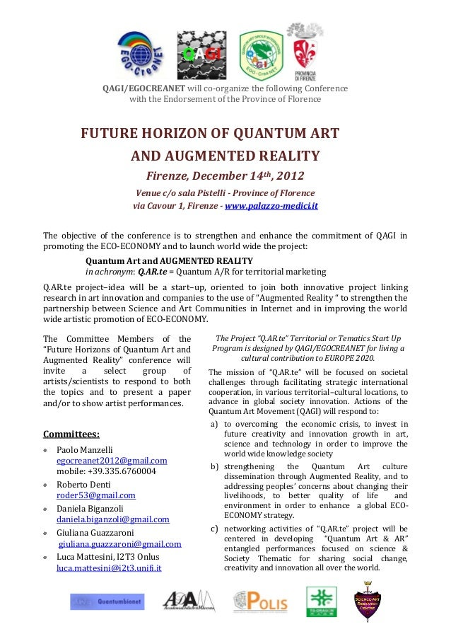 QAGI/EGOCREANET will co-organize the following Conference                    with the Endorsement of the Province of Flore...
