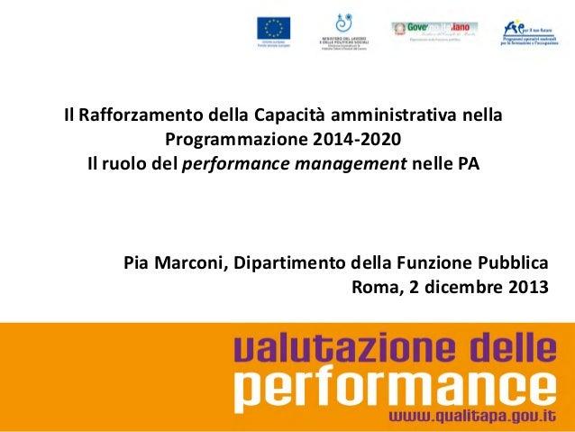 Il Rafforzamento della Capacità amministrativa nella Programmazione 2014-2020 Il ruolo del performance management nelle PA...