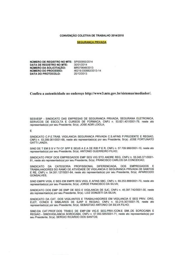 Convenção Coletiva dos Vigilantes 2014 (registrada)