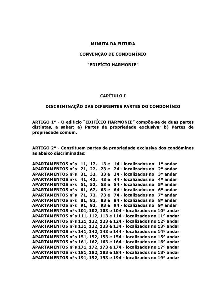 """MINUTA DA FUTURA                    CONVENÇÃO DE CONDOMÍNIO                       """"EDIFÍCIO HARMONIE""""                     ..."""
