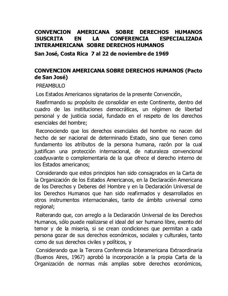 CONVENCION AMERICANA SOBRE DERECHOS HUMANOS SUSCRITA EN LA CONFERENCIA ESPECIALIZADA INTERAMERICANA SOBRE DERECHOS HUMAN...