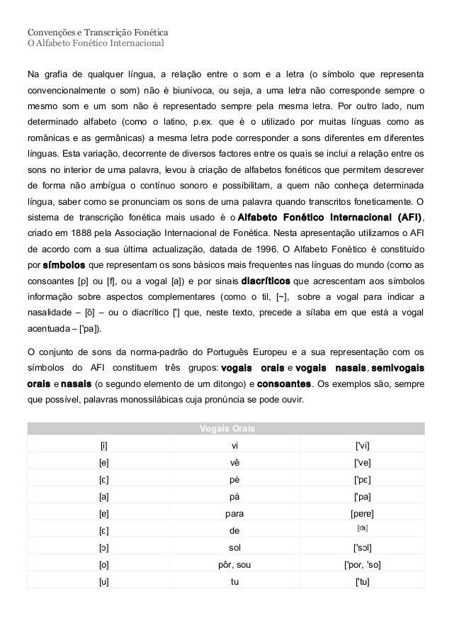 Convenções e Transcrição Fonética O Alfabeto Fonético Internacional Na grafia de qualquer língua, a relação entre o som e ...