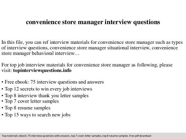 convenience store manager interview questions