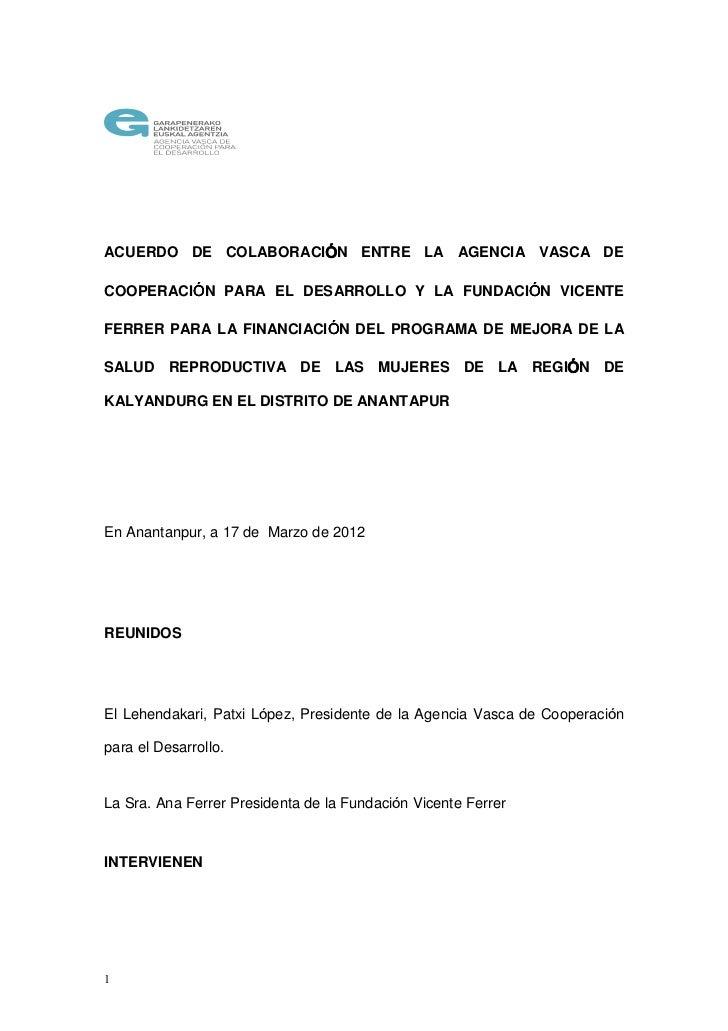 ÓACUERDO DE COLABORACIÓN ENTRE LA AGENCIA VASCA DE         Ó                                 ÓCOOPERACIÓN PARA EL DESARROL...