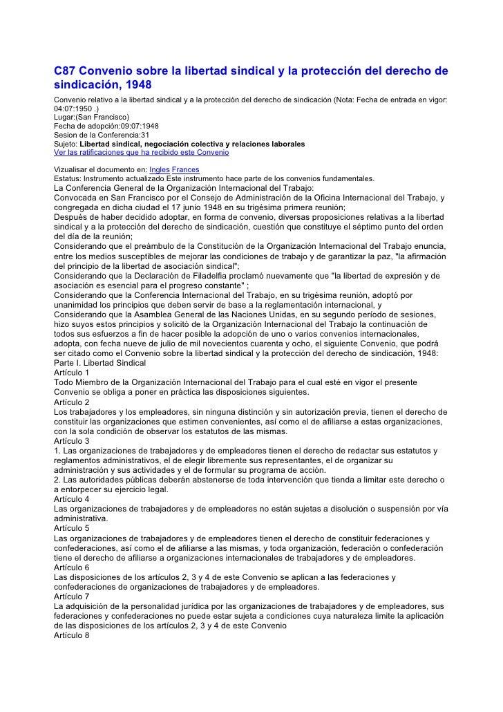C87 Convenio sobre la libertad sindical y la protección del derecho de sindicación, 1948 Convenio relativo a la libertad s...