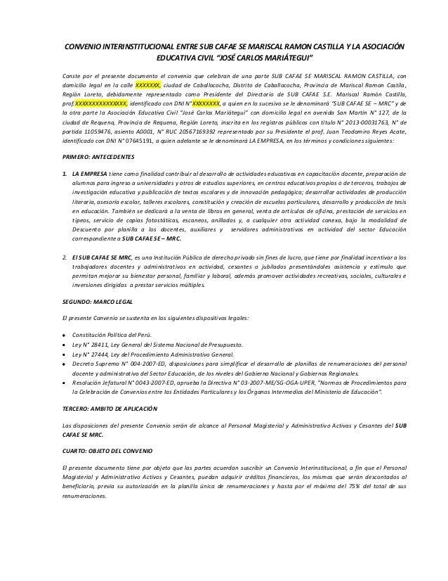 """CONVENIO INTERINSTITUCIONAL ENTRE SUB CAFAE SE MARISCAL RAMON CASTILLA Y LA ASOCIACIÓN EDUCATIVA CIVIL """"JOSÉ CARLOS MARIÁT..."""