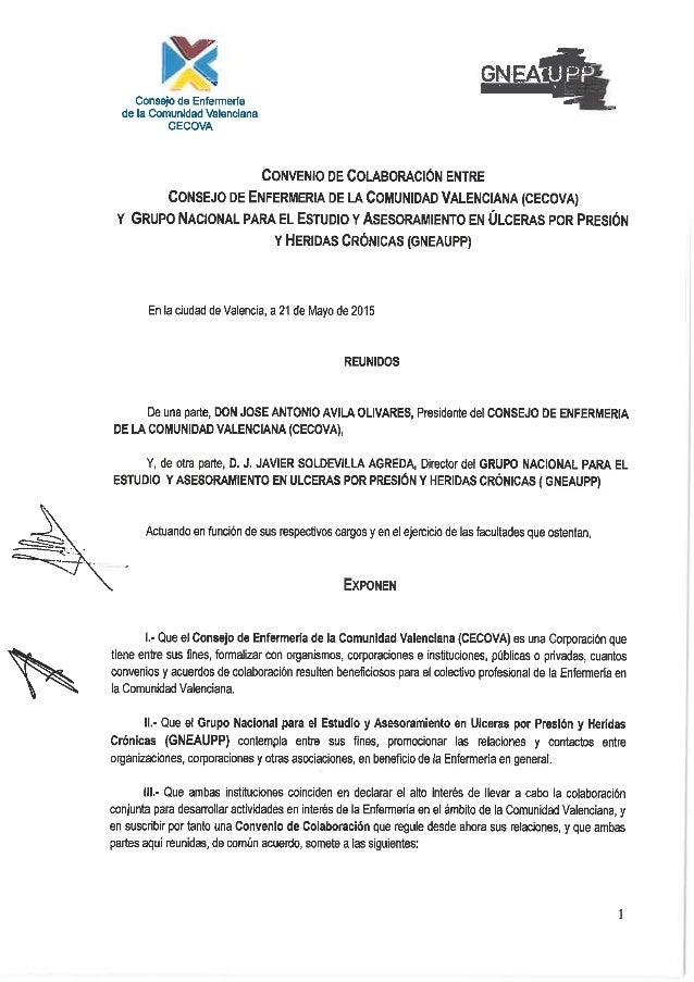b'?  A Consejo de Enfenneria  de la Comunidad Valenciana CECOVA     CONVENIO DE COLABORACIÓN ENTRE CONSEJO DE ENFERMERIA D...