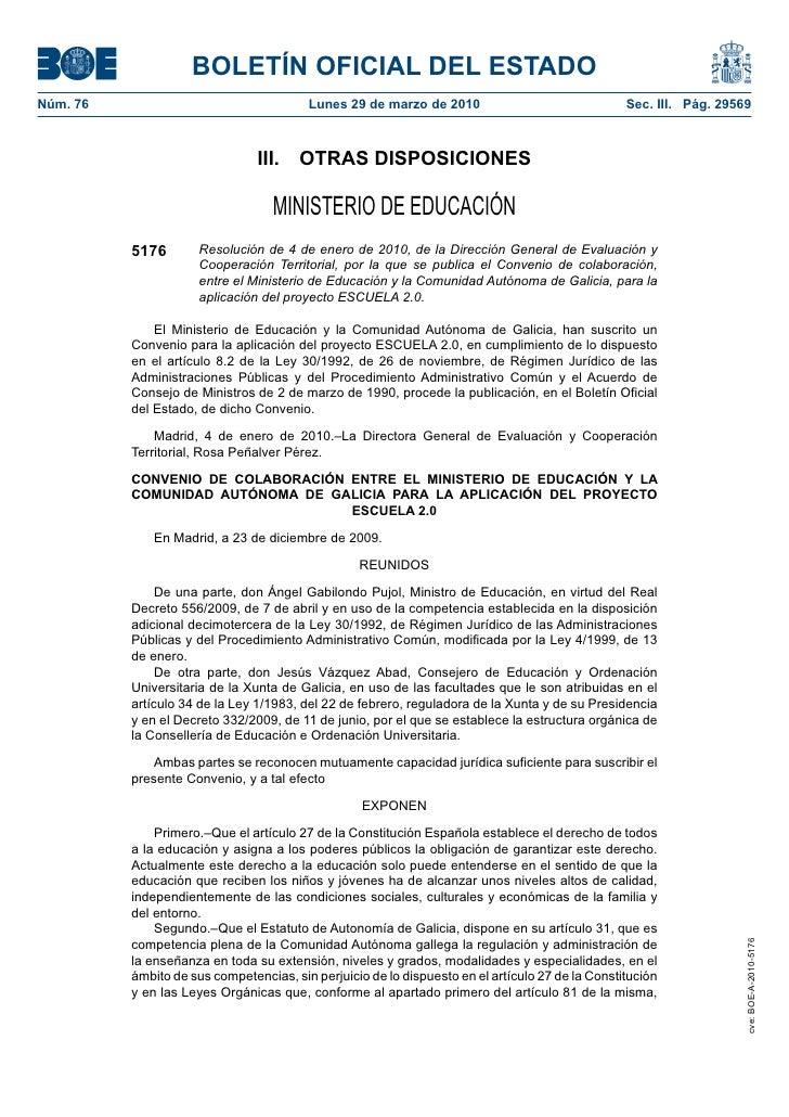 BOLETÍN OFICIAL DEL ESTADO Núm. 76                                  Lunes 29 de marzo de 2010                             ...