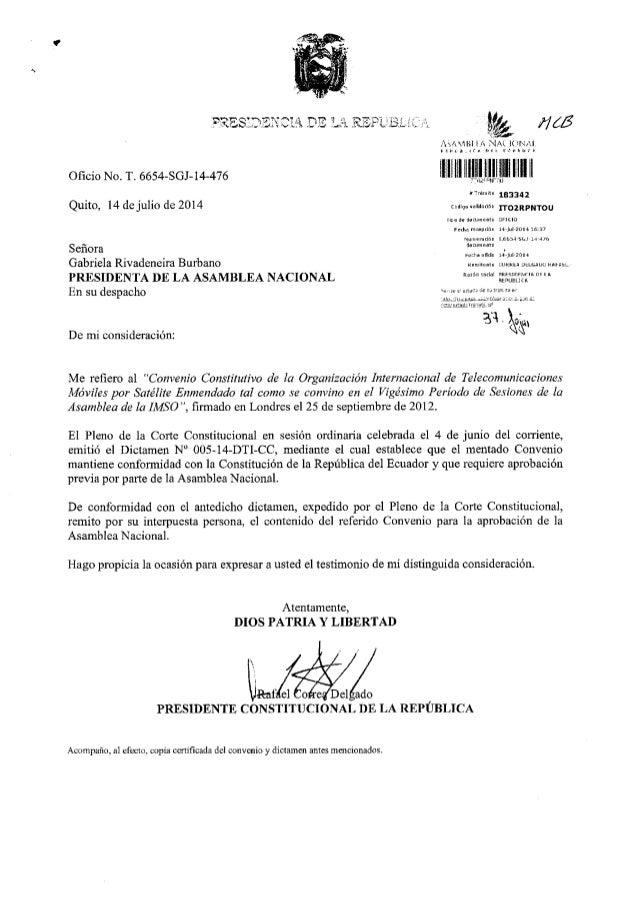 Convenio constitutivo de la organización internacional de telecomunicaciones móviles por satélite enmendado tal como se co...