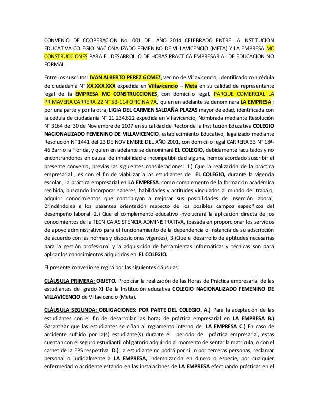 CONVENIO DE COOPERACION No. 001 DEL AÑO 2014 CELEBRADO ENTRE LA INSTITUCION EDUCATIVA COLEGIO NACIONALIZADO FEMENINO DE VI...