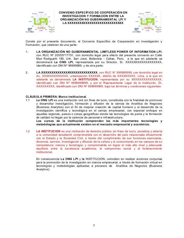CONVENIO ESPECÍFICO DE COOPERACIÓN EN INVESTIGACION Y FORMACION ENTRE LA ORGANIZACIÓN NO GUBERNAMENTAL LPI Y LA XXXXXXXXXX...