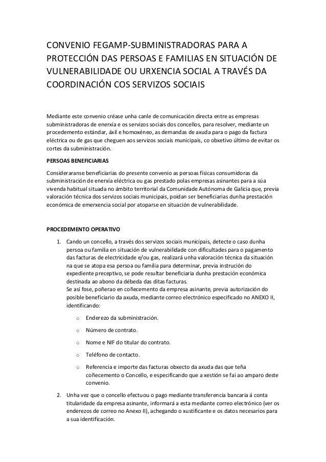 CONVENIO FEGAMP-SUBMINISTRADORAS PARA A PROTECCIÓN DAS PERSOAS E FAMILIAS EN SITUACIÓN DE VULNERABILIDADE OU URXENCIA SOCI...
