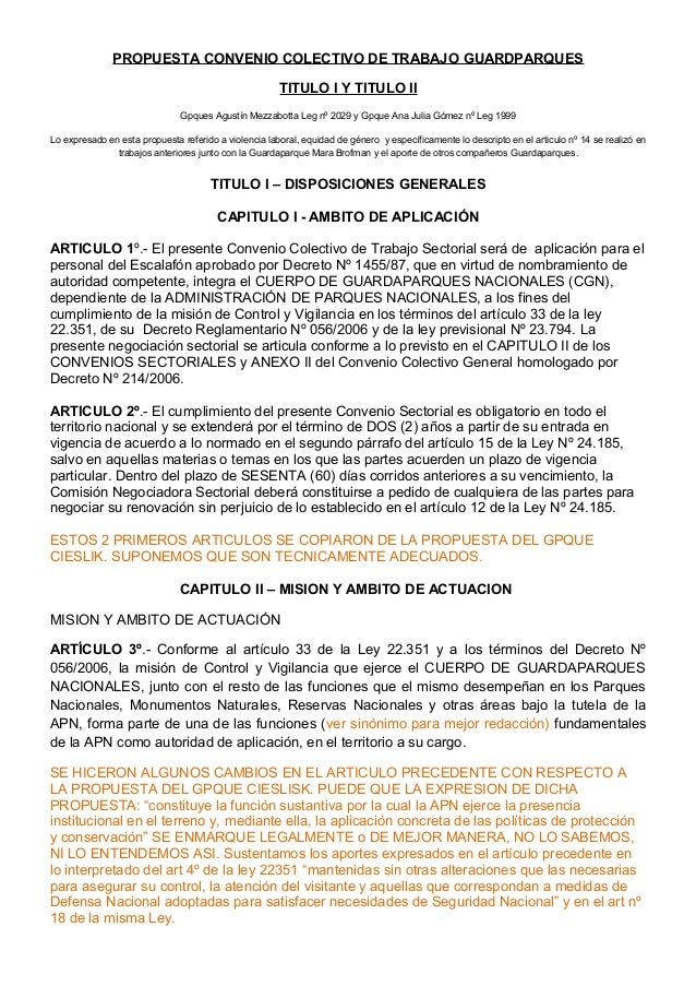PROPUESTA CONVENIO COLECTIVO DE TRABAJO GUARDPARQUES TITULO I Y TITULO II Gpques Agustín Mezzabotta Leg nº 2029 y Gpque An...