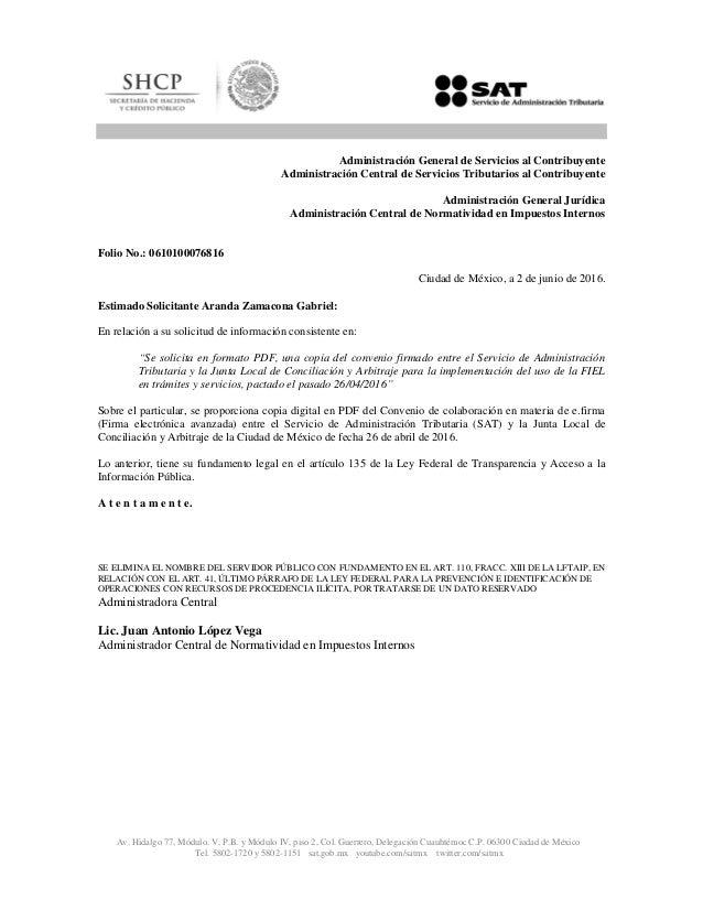 Convenio Junta Local De Conciliación Y Arbitraje Cdmx Y Sat 2016