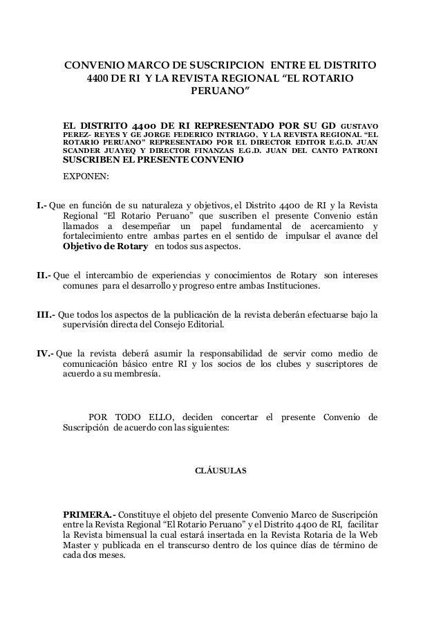 Convenio marco de suscripción con d 4400 y Revista Rotario Peruano