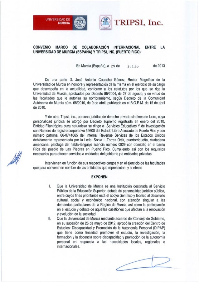 Convenio Colaboración Internacional entre Universidad de Murcia y Tripsi, Inc.