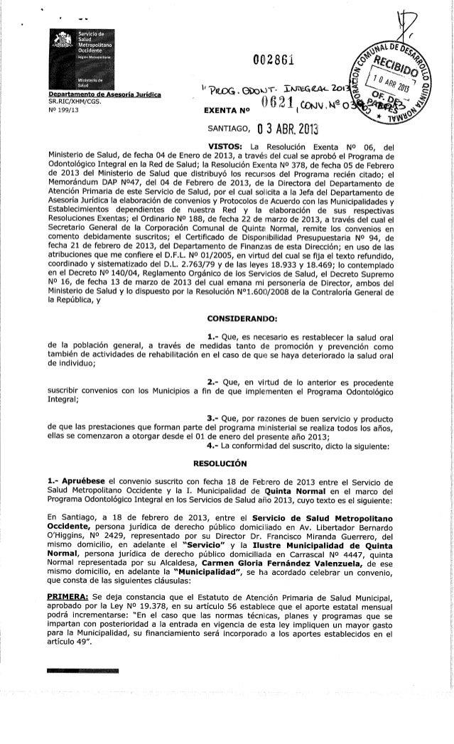 Departamento de Asesoría JurídicaSR.RIC/XHM/CGS.N° 199/130028610621,coKj/(iueoEXENTAN© lWNVl WSANTIAGO, o 3 ABR. 2013wVIST...