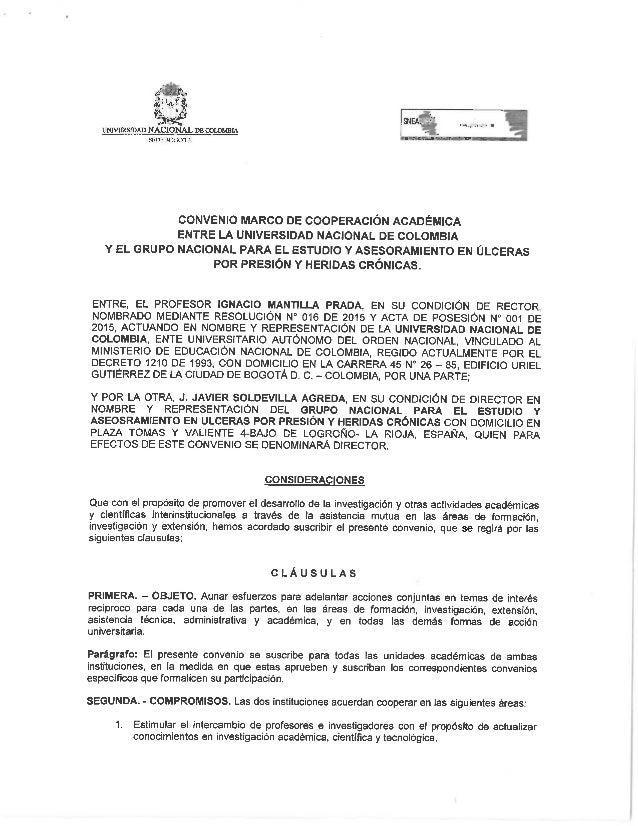 IMVERSIDAD NÁÏJJONAL DE OOIDMBIA srnr 30001:'.   CONVENIO MARCO DE COOPERACIÓN ACADÉMICA ENTRE LA UNIvERsIDAD NACIONAL DE ...