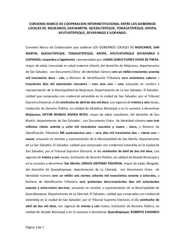 CONVENIO MARCO DE COOPERACION INTERINSTITUCIONAL ENTRE LOS GOBIERNOS LOCALES DE MEJICANOS, SAN MARTIN, QUEZALTEPEQUE, TONA...