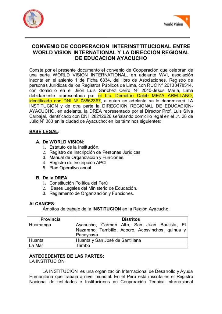 CONVENIO DE COOPERACION INTERINSTTITUCIONAL ENTRE WORLD VISION INTERNATIONAL Y LA DIRECCION REGIONAL               DE EDUC...