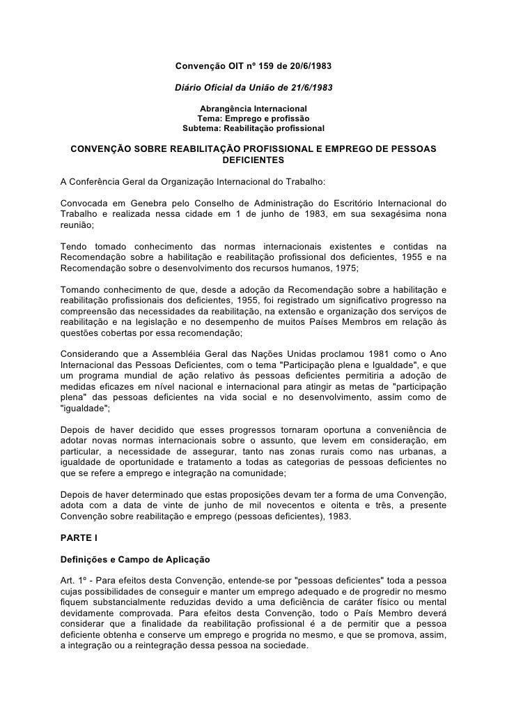Convenção OIT nº 159 de 20/6/1983                             Diário Oficial da União de 21/6/1983                        ...