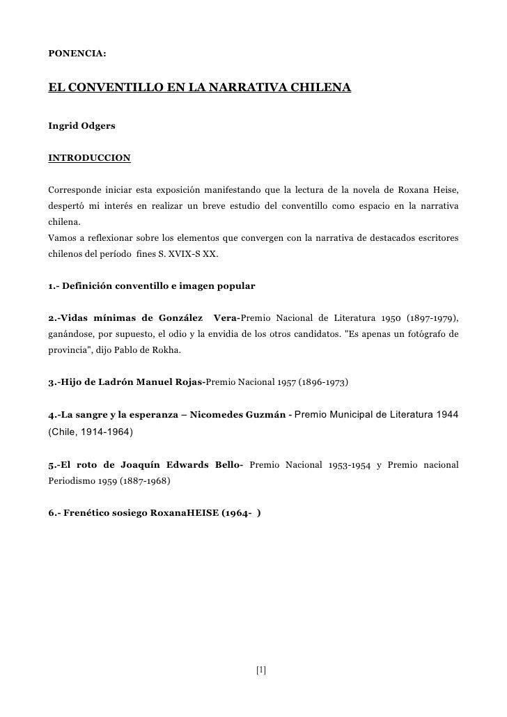 PONENCIA:   EL CONVENTILLO EN LA NARRATIVA CHILENA   Ingrid Odgers   INTRODUCCION   Corresponde iniciar esta exposición ma...