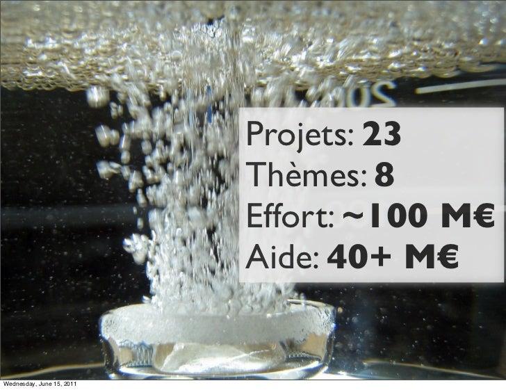 Projets: 23                           Thèmes: 8                           Effort: ~100 M€                           Aide: ...