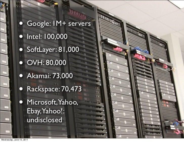 • Google: 1M+ servers               • Intel: 100,000               • SoftLayer: 81,000               • OVH: 80,000        ...