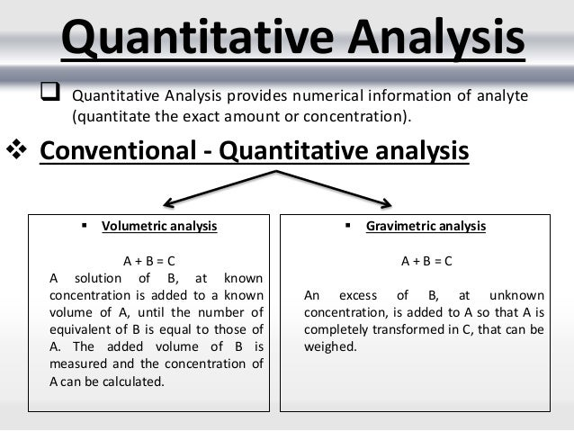 Conventional Methods Of Quantitative Analysis