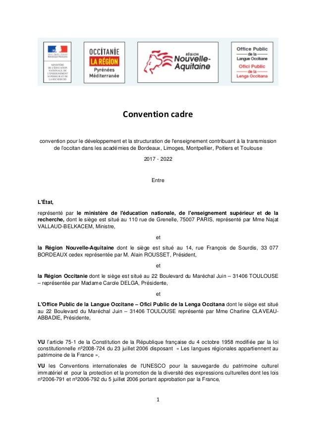 1 Convention cadre convention pour le développement et la structuration de l'enseignement contribuant à la transmission de...