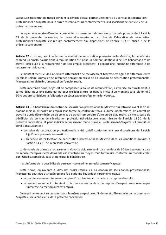 Convention Contrat De Securisation Professionnelle Mayotte