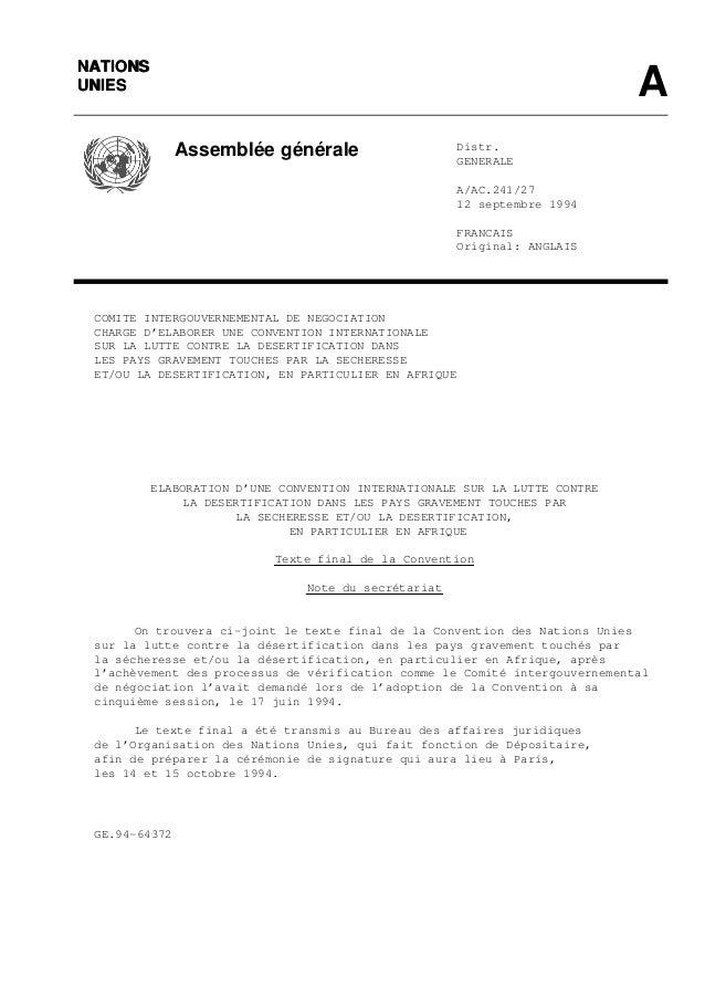 NATIONSNATIONS AUNIESUNIES Assemblée générale Distr. GENERALE A/AC.241/27 12 septembre 1994 FRANCAIS Original: ANGLAIS COM...