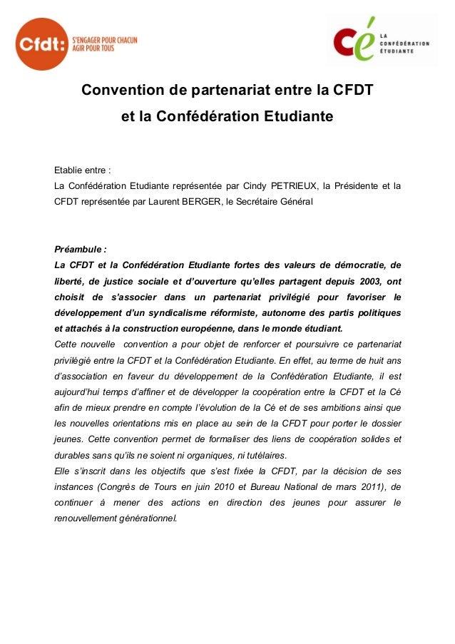 Convention de partenariat entre la CFDT                  et la Confédération EtudianteEtablie entre :La Confédération Etud...