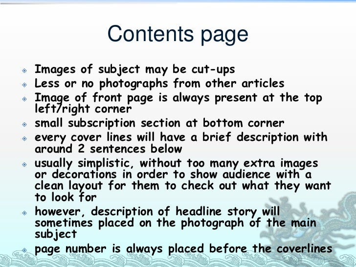 Contents page   Images of subject may be cut-ups   Less or no photographs from other articles   Image of front page is ...