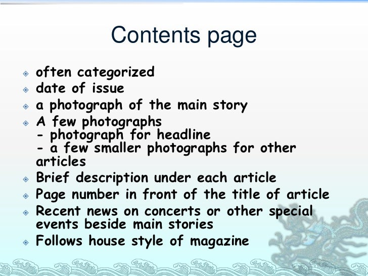 Contents page   often categorized   date of issue   a photograph of the main story   A few photographs    - photograph...