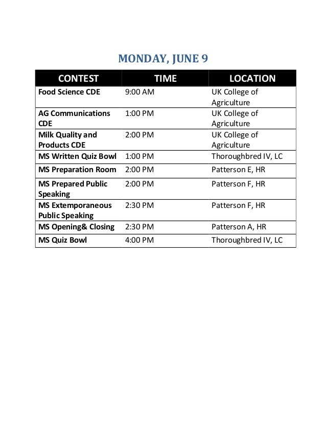 MONDAY, JUNE 9 CONTEST TIME LOCATION Food Science CDE 9:00 AM UK College of Agriculture AG Communications CDE 1:00 PM UK C...
