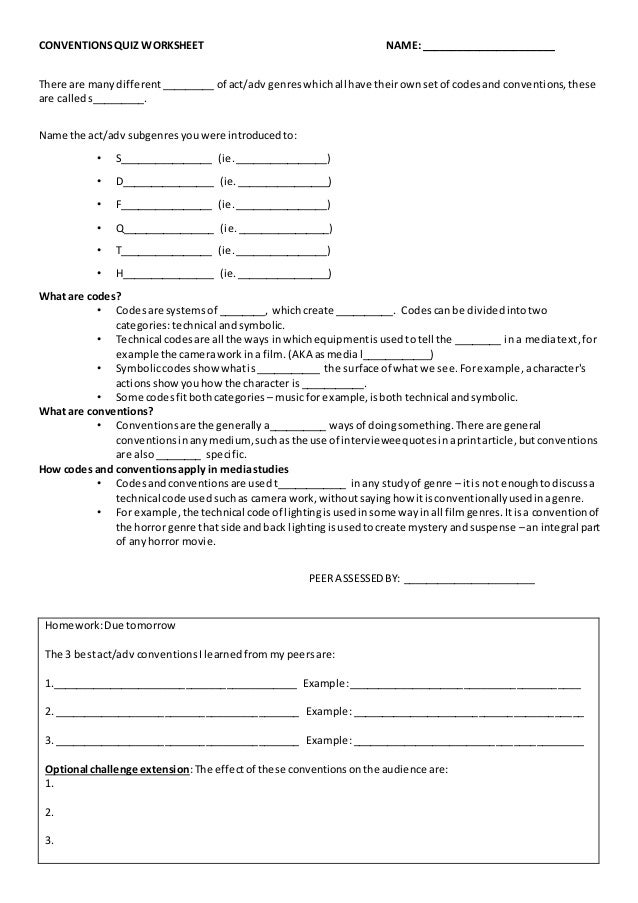 conventions quiz worksheet