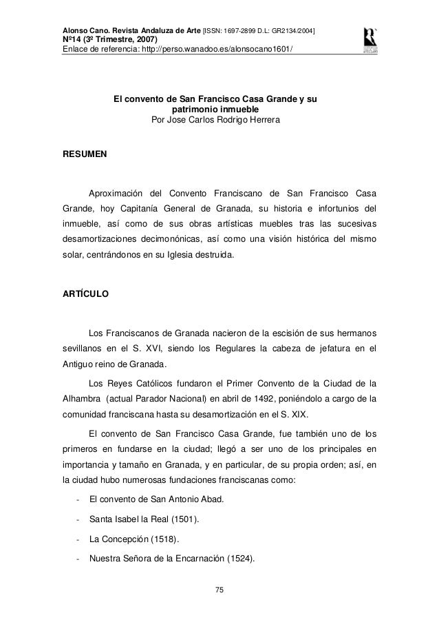 Alonso Cano. Revista Andaluza de Arte [ISSN: 1697-2899 D.L: GR2134/2004] Nº14 (3º Trimestre, 2007) Enlace de referencia: h...