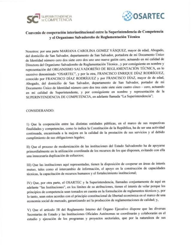 Convenio Superintendencia de Competencia y el Organismo Salvadoreño de Reglamentación Técnica (OSARTEC)