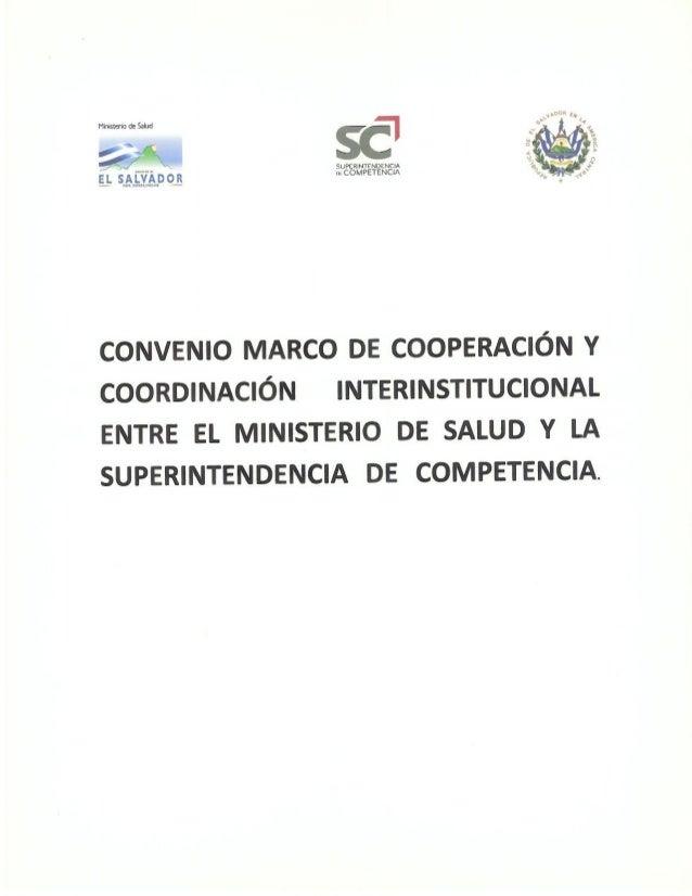 Convenio Marco de Cooperación y Coordinación Interinstitucional entre el MINSAL y SC
